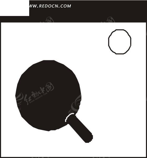 手绘黑白乒乓球拍和乒乓球