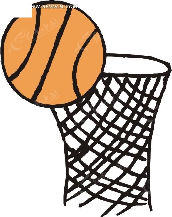 篮球 球 手绘 插画 卡通画 体育用品 矢量素材  生活百科