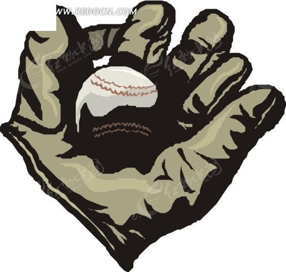 手绘棒球手套里的棒球