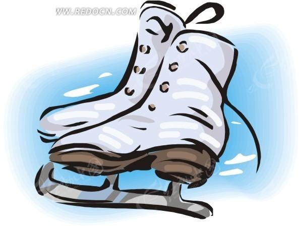 手绘 冰刀鞋 体育用品 生活百科 矢量素材 eps