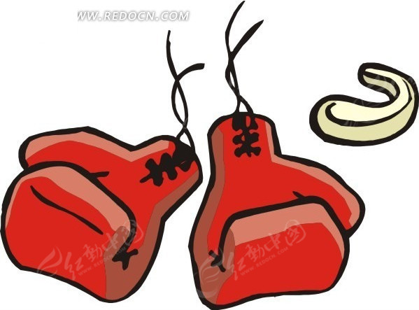 手绘红色拳击手套