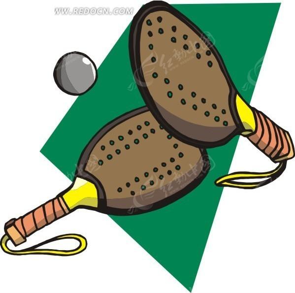 一对网球拍与灰色网球矢量图_体育运动