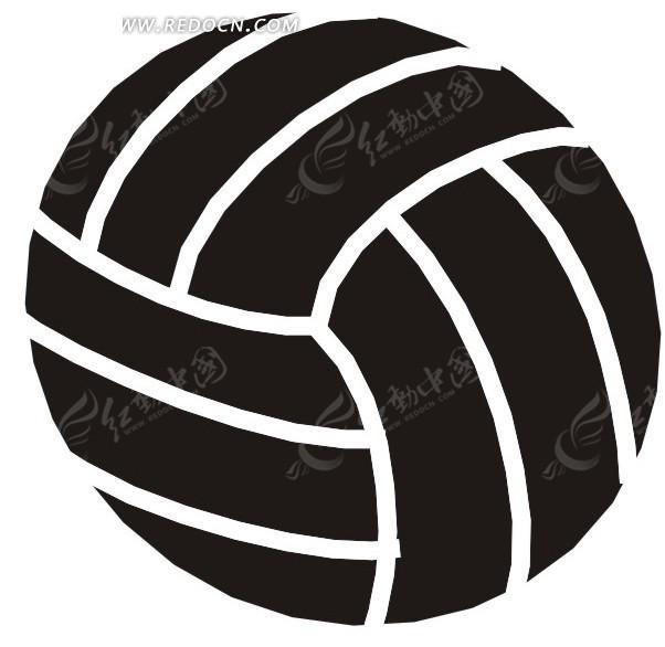 手绘黑底白线条的排球