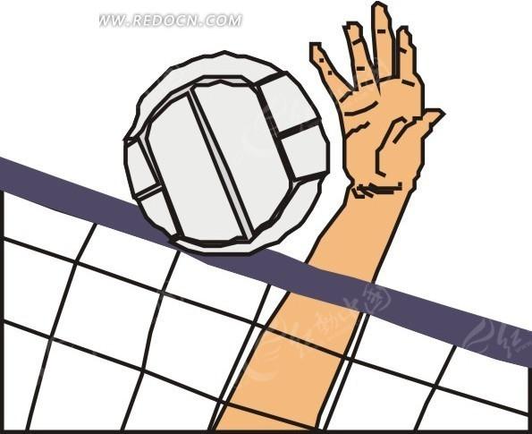 绘被手拍过网的排球