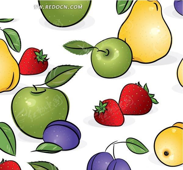卡通水果插画背景矢量素材