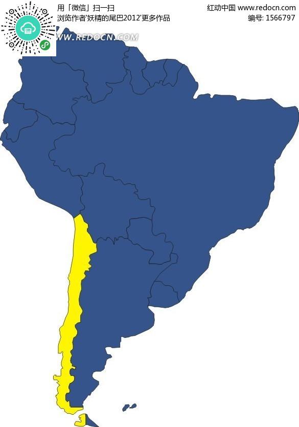 手绘南美洲地图上的智利地图