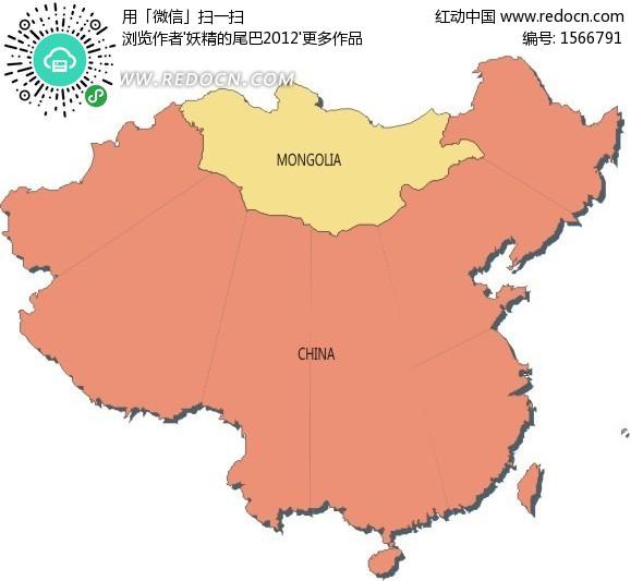 外蒙古地图e素材矢量