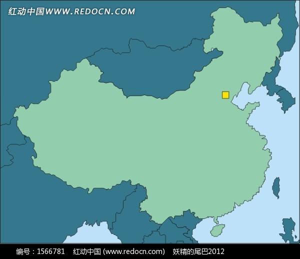 手绘中国地图上的首都北京矢量图
