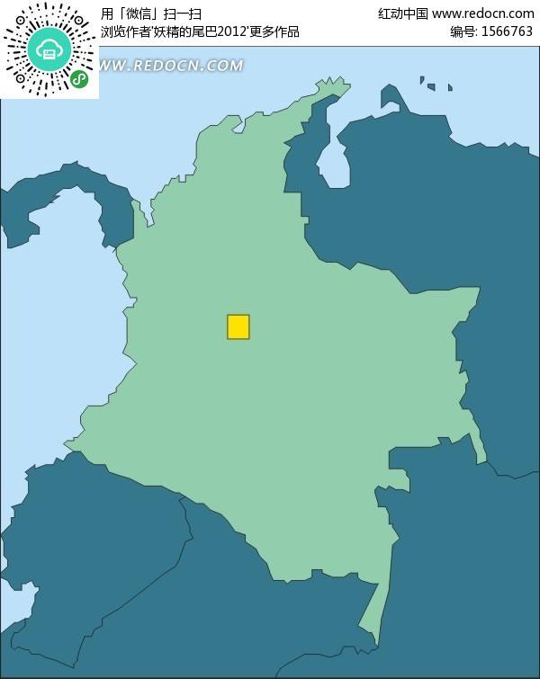 手绘哥伦比亚地图上的首都波哥大