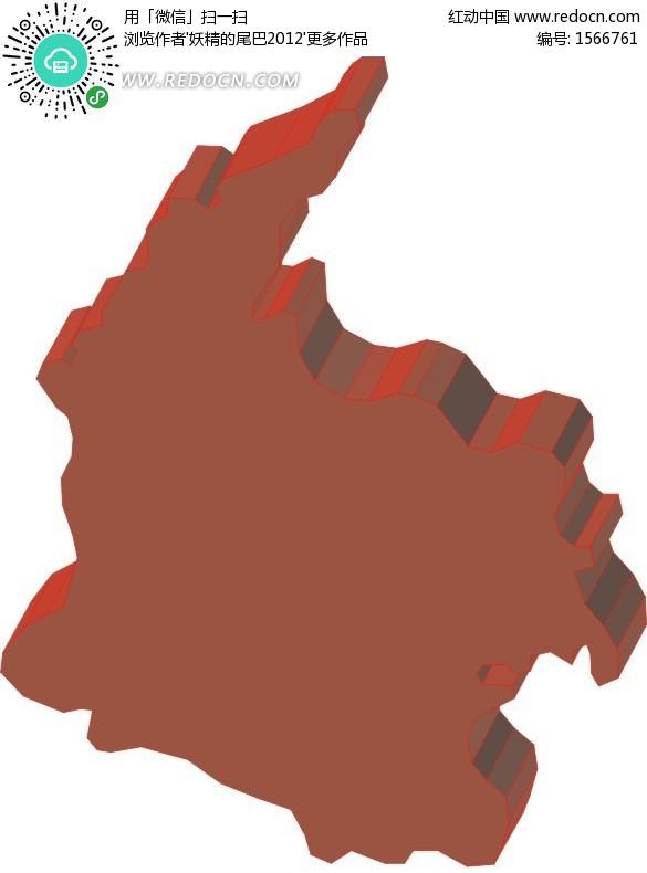 手绘红色哥伦比亚地图板块eps免费下载_办公学习素材