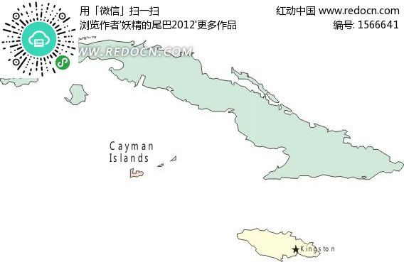 手绘蓝色古巴地图图片