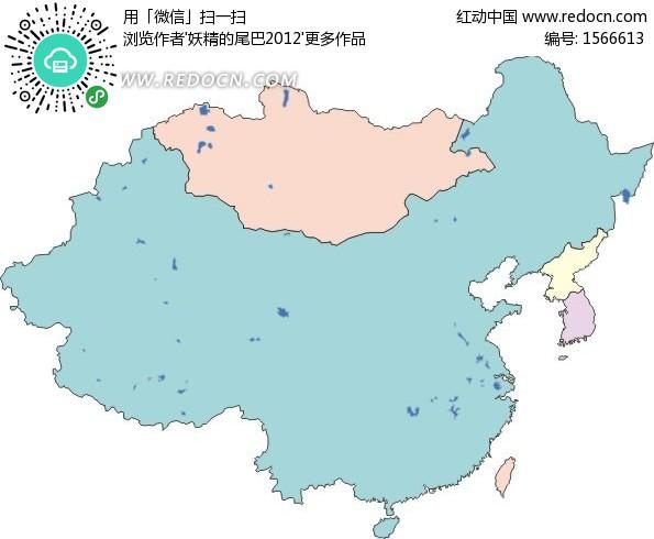 手绘中国地图和粉色蒙古地图