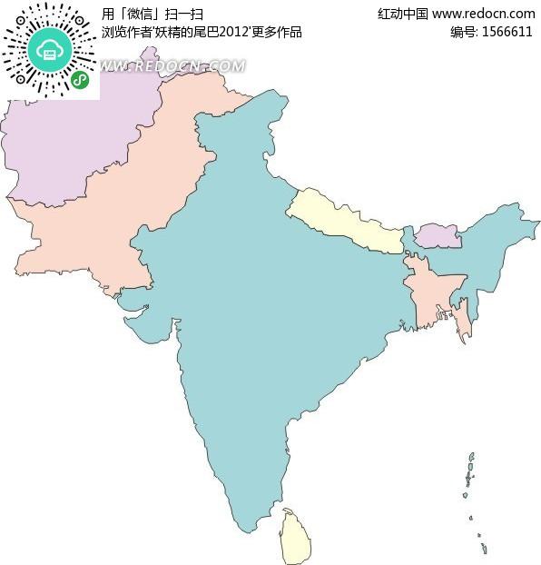 手绘印度半岛地图