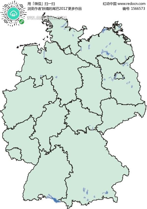 手绘淡蓝色德国地图矢量图eps免费下载_办公学习素材