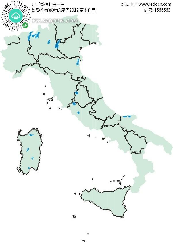 意大利绿色地图矢量素材矢量图