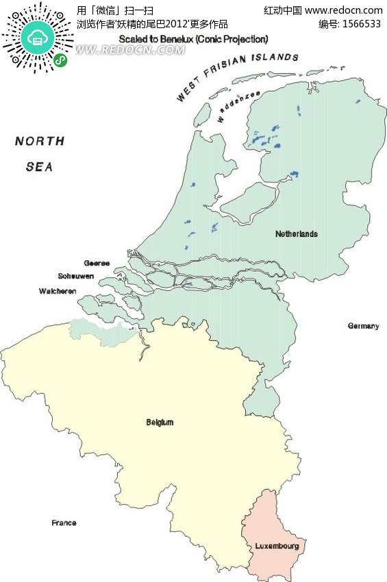手绘荷兰和比利时地图
