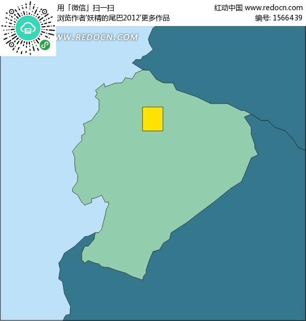 厄瓜多尔地图 南美洲国家 首都 基多 手绘 矢量地图 办公用品 生活