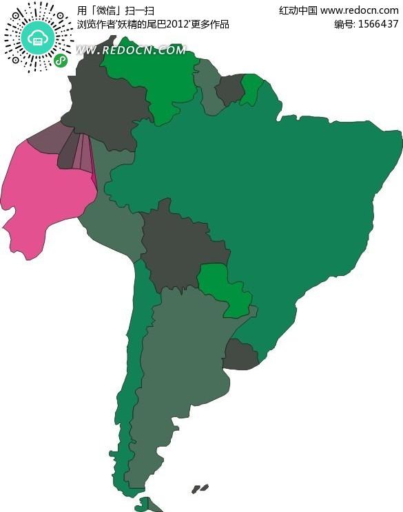 手绘南美洲地图上的厄瓜多尔