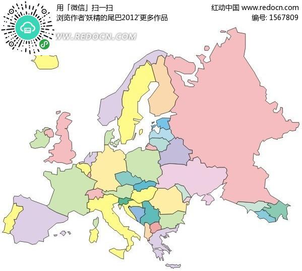 手绘五彩的欧洲地图