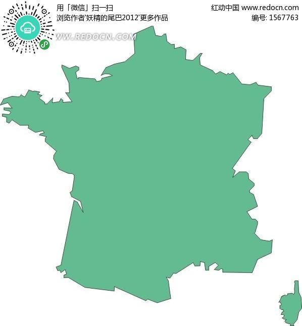 手绘绿色法国地图