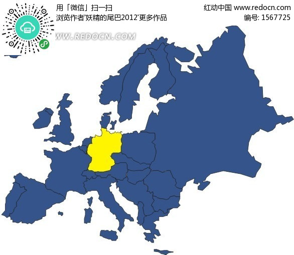 手绘欧洲地图上的黄色德国地图图片