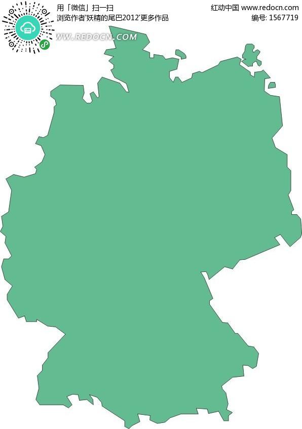 手绘绿色德国地图
