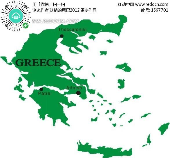 手绘绿色希腊地图