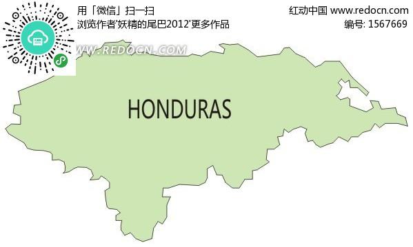 手绘绿色洪都拉斯地图