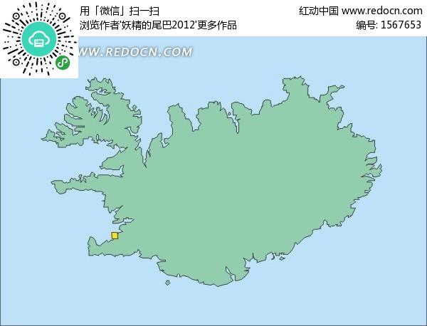 手绘绿色冰岛地图上的首都雷克雅未克