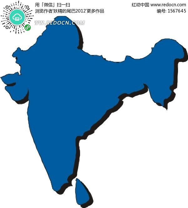 手绘蓝色印度地图板块矢量图
