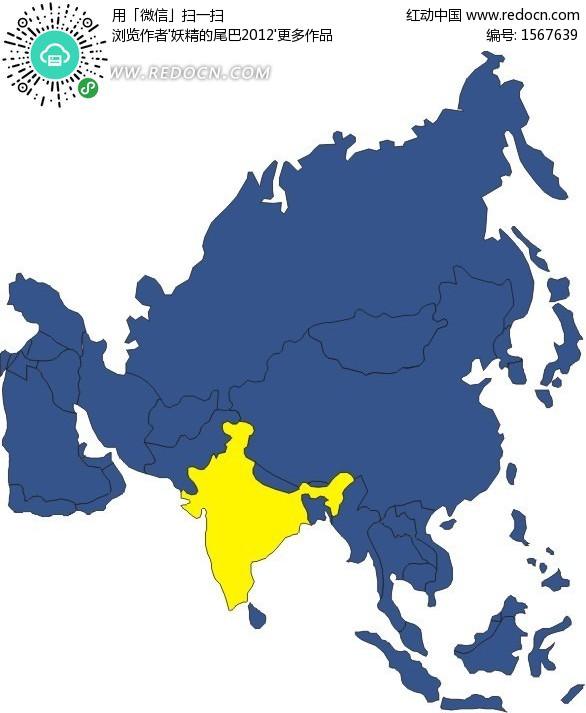 手绘欧洲地图上的蓝色法国版图_办公学习_红动手机版