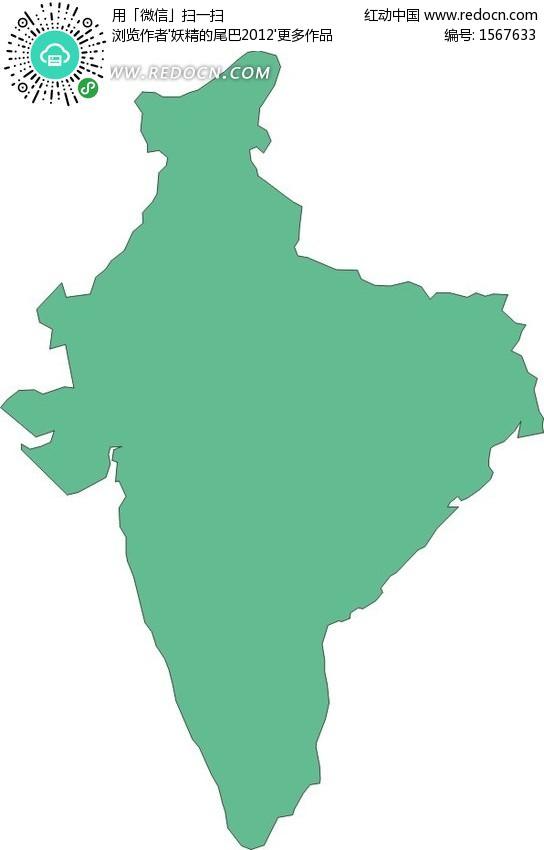 手绘绿色印度地图