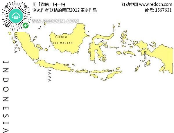 手绘黄色印度尼西亚地图