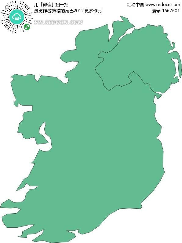 手绘绿色爱尔兰地图矢量图