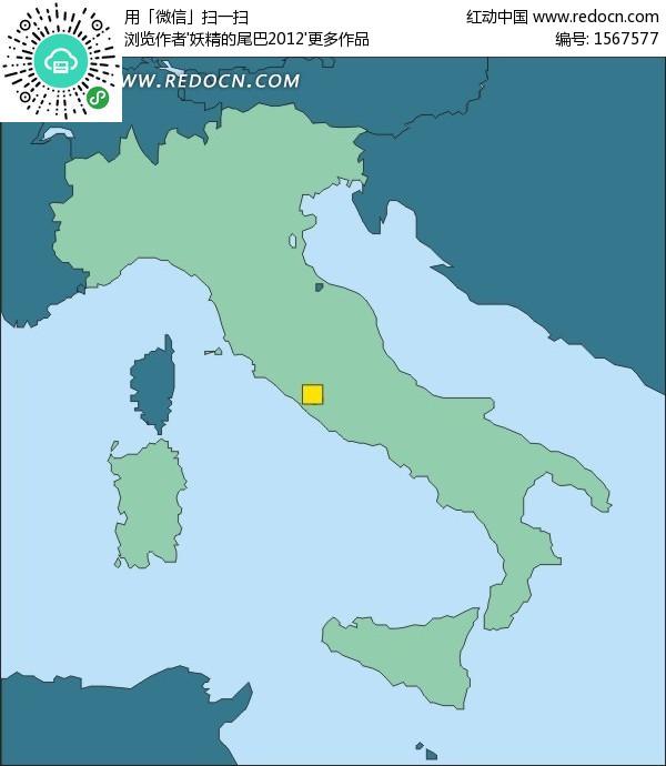 手绘意大利地图上的首都罗马