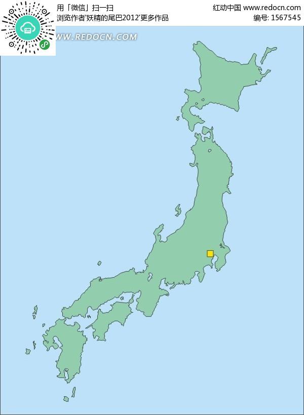 手绘日本地图上的首都东京矢量图 办公学习
