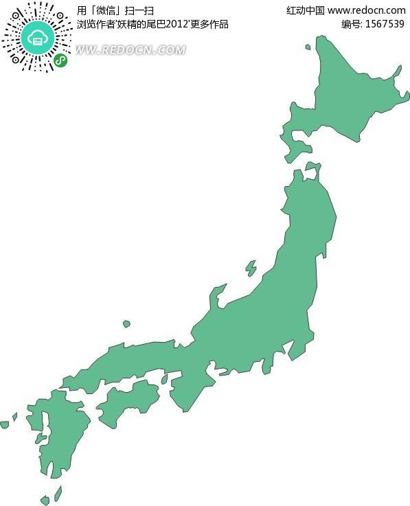 手绘绿色日本地图矢量图
