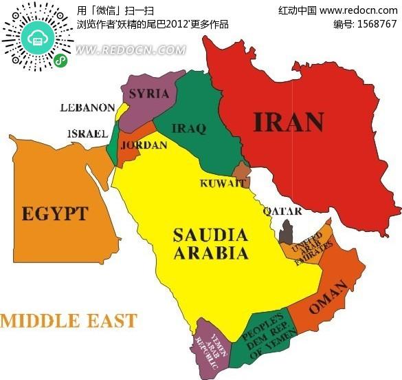 中东地区地图素材