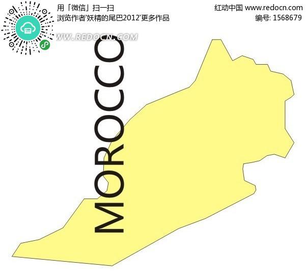 摩洛哥黄色矢量地图矢量图