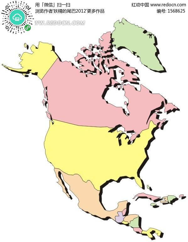 北美洲地图 格陵兰岛 美国 阿拉斯加 加拿大 墨西哥 手绘地图 版图