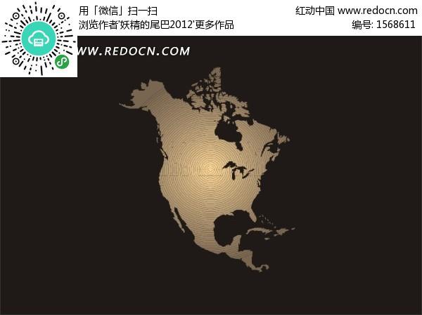 黑色背景上的北美洲地图矢量图