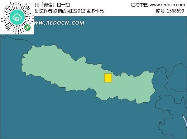 尼泊尔地图 绿色地图 加德满都 南亚国家 手绘地图 版图 矢量素材  办