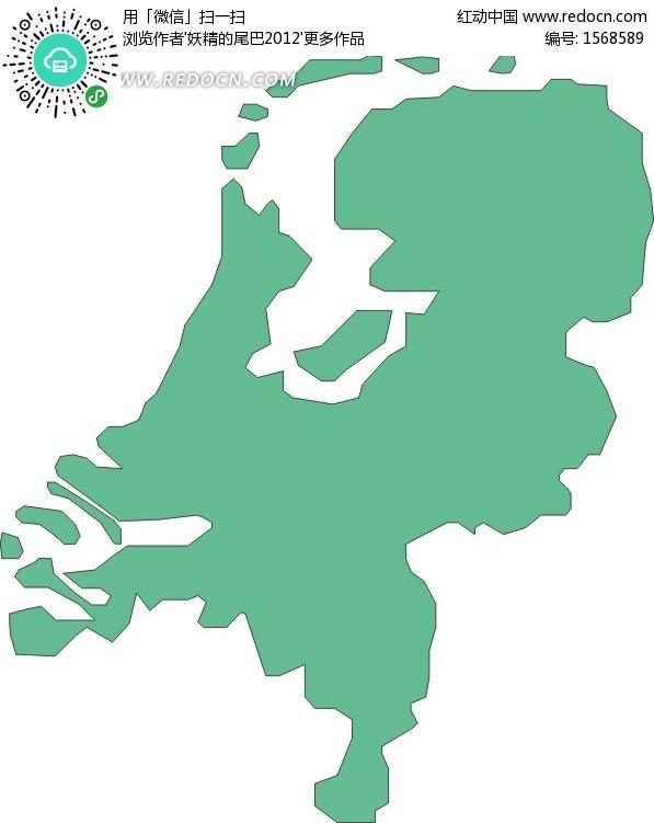 绿色荷兰矢量地图