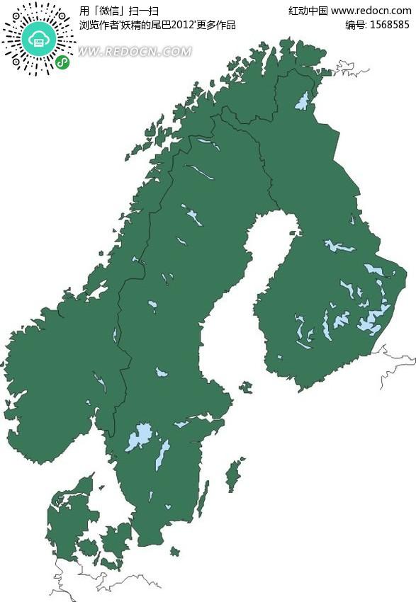 斯堪的纳维亚半岛和芬兰矢量地图