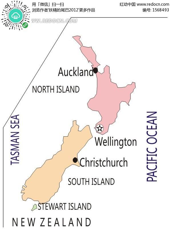 新西兰矢量地图矢量图