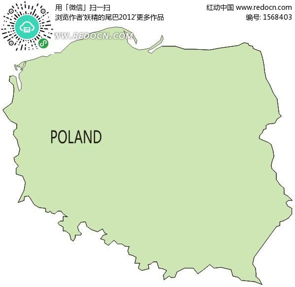 欧洲国家—波兰绿色矢量地图矢量图