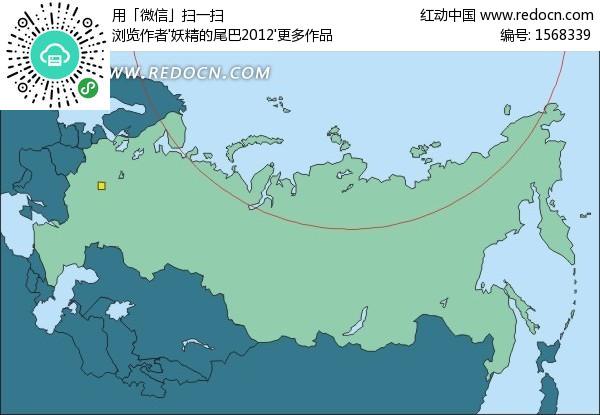 俄罗斯地图上的首都—莫斯科矢量图