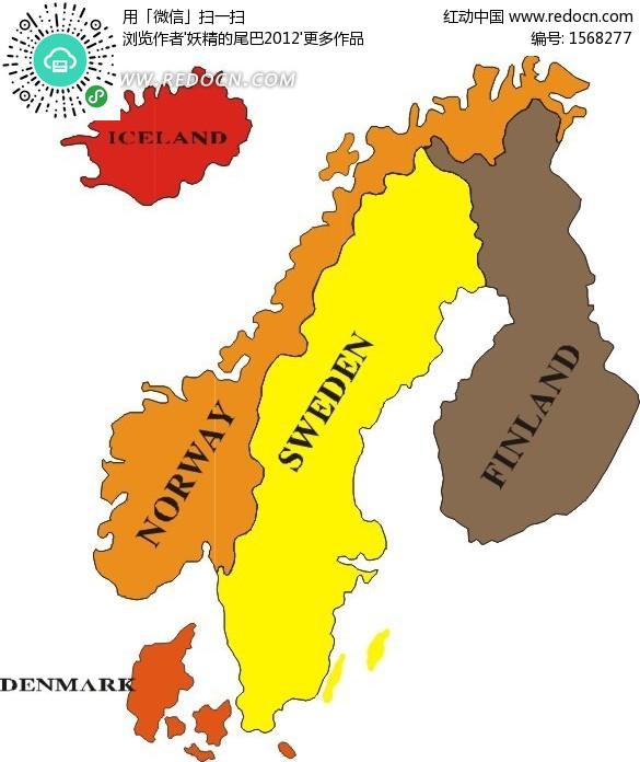 丹麦 手绘地图