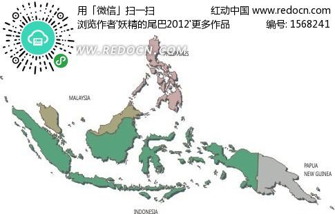 印度尼西亚矢量地图矢量图