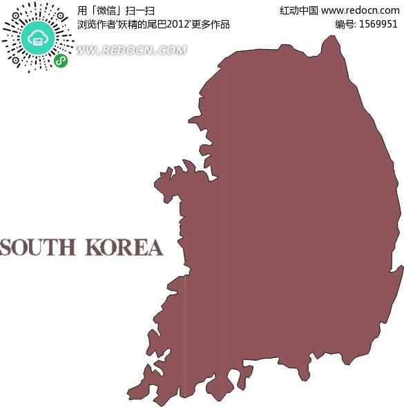 韩国地图  亚洲国家  手绘地图 版图 矢量素材  办公用品 生活百科